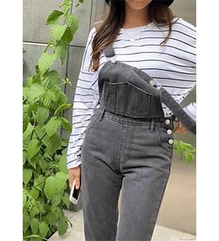 Slim Side Button Suspenders Pants #79237