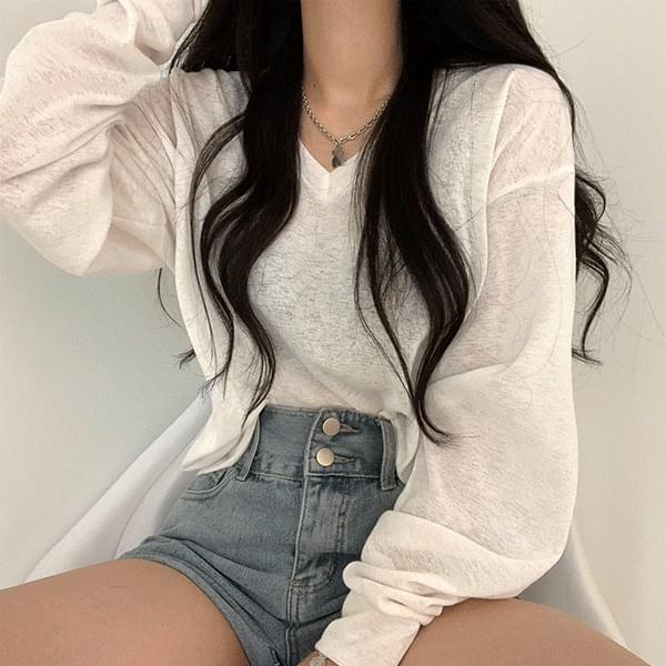 V-Neck long-sleeved T with a subtle sheer charm