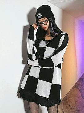 Loose-fit Deli Checker Knitwear