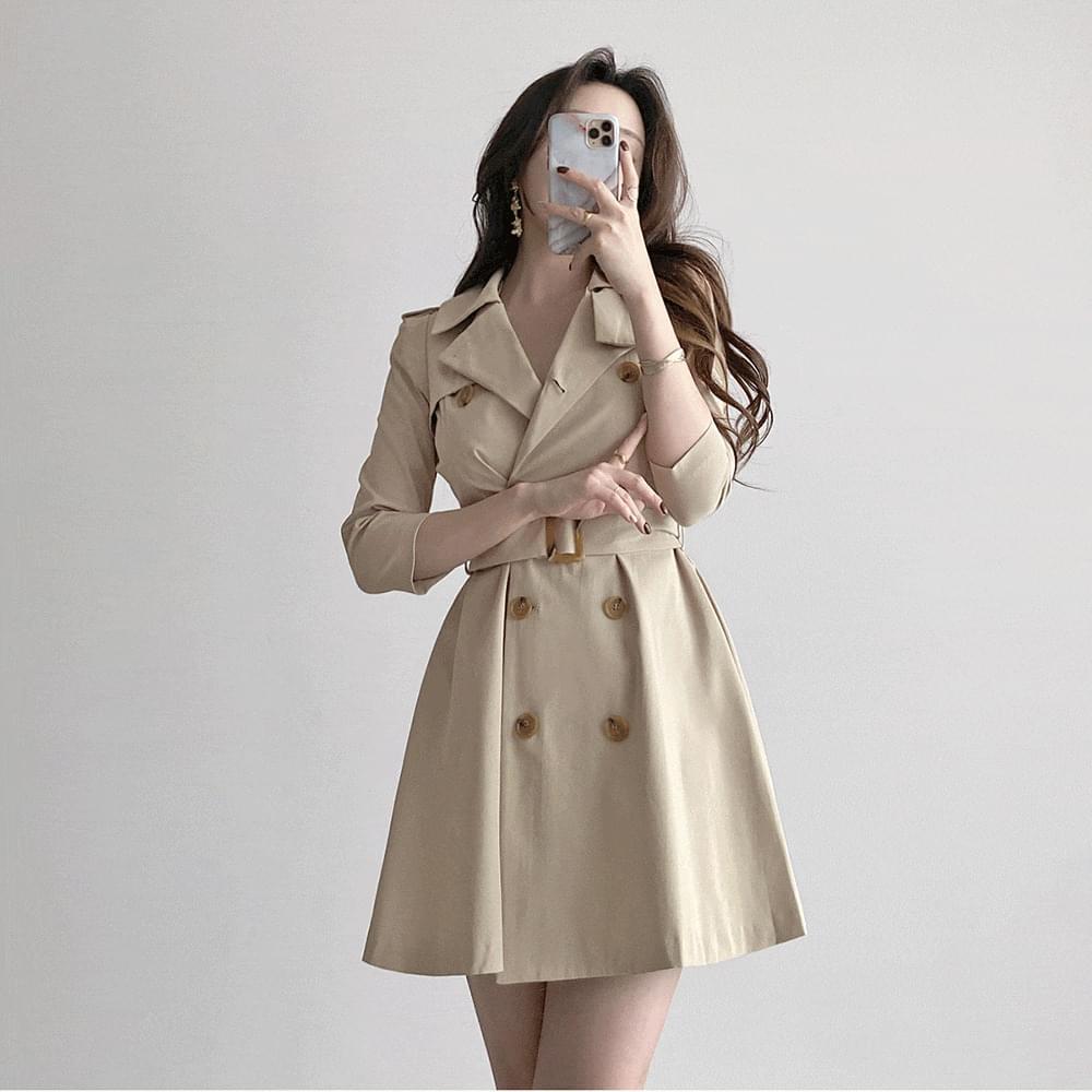 7 parts double button A-line flare belt trench jacket Dress 2color