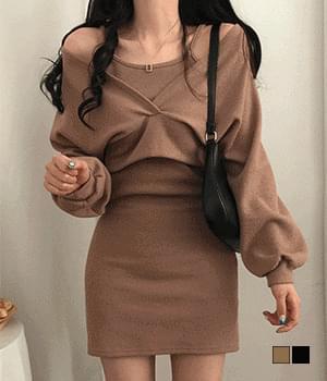 Chili Wrap Crop Cardigan Dress Two-Piece Set