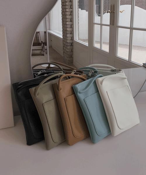 폰폰 스퀘어 미니 지퍼 크로스백 가방 (화이트/블랙/그린/브라운/블루)