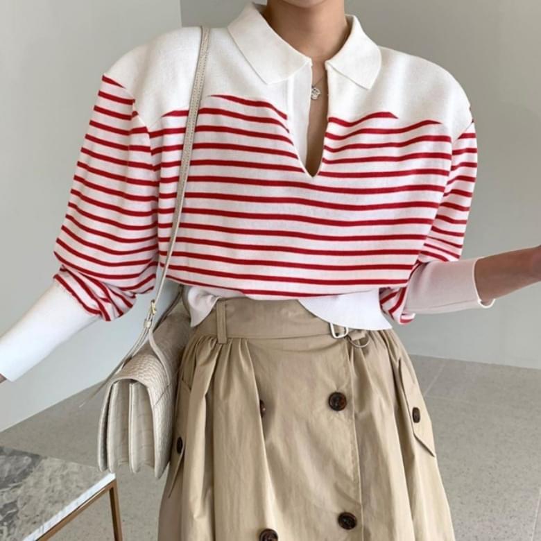 simple striped collar shirt tee
