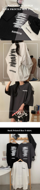 Rainbow Scratch Back Print Overfit T-shirt