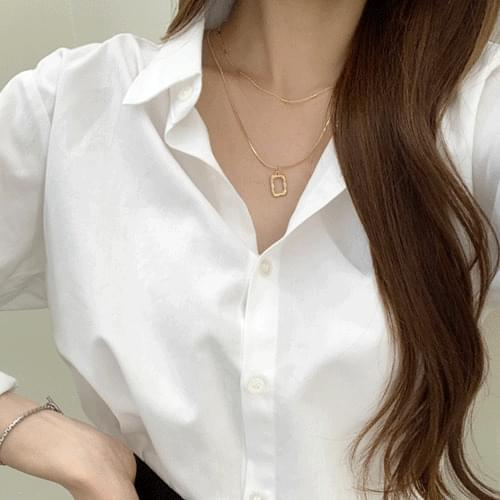 Square Round Double Line Layered Necklace A#YW060