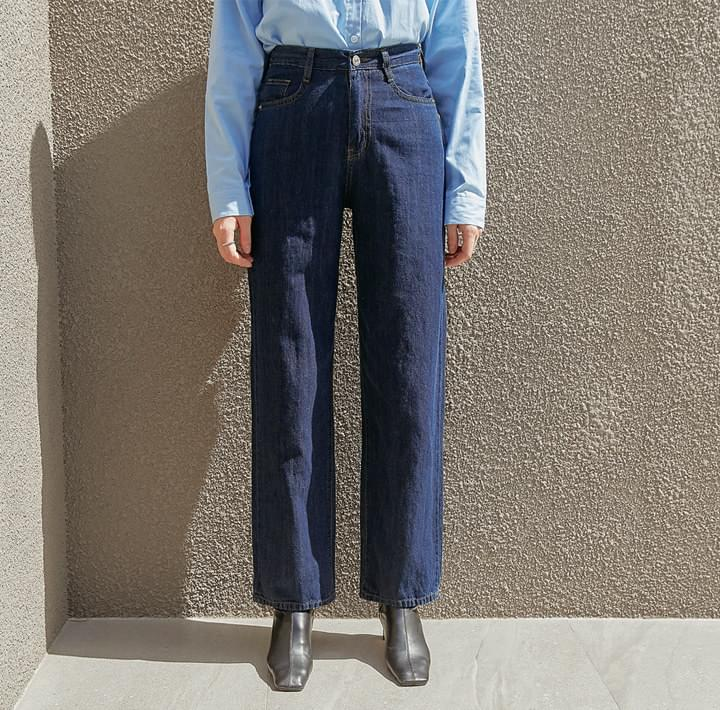 Cotton-Linen Blend Straight Jeans