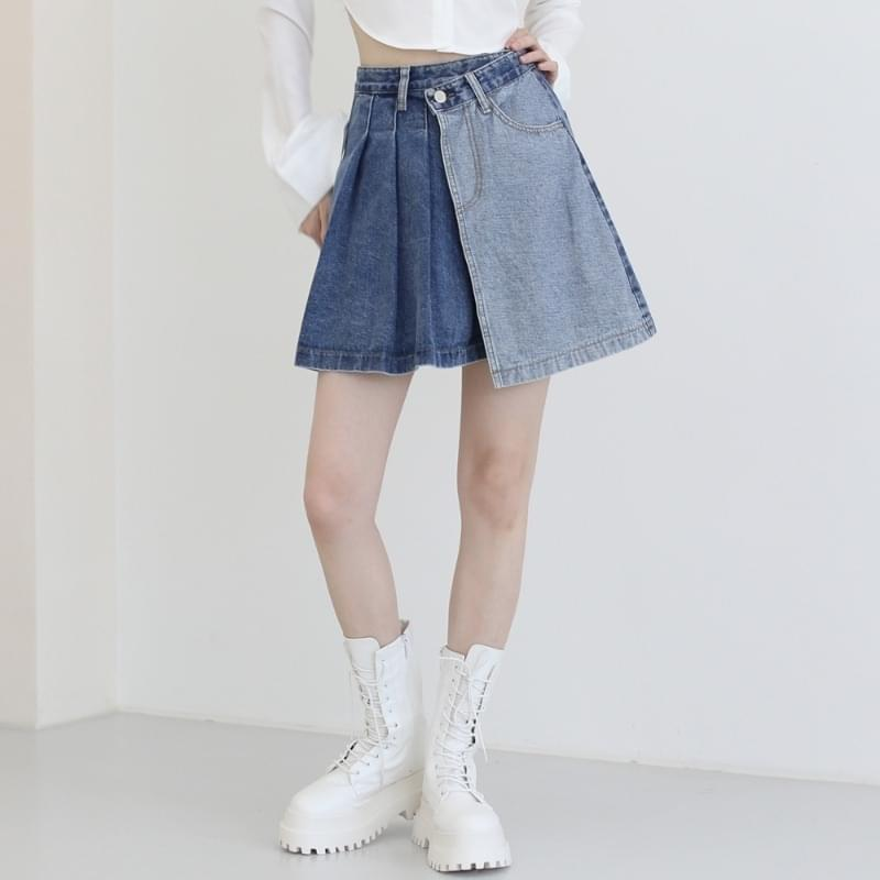 Riel Unbald Wrap Denim Mini Skirt