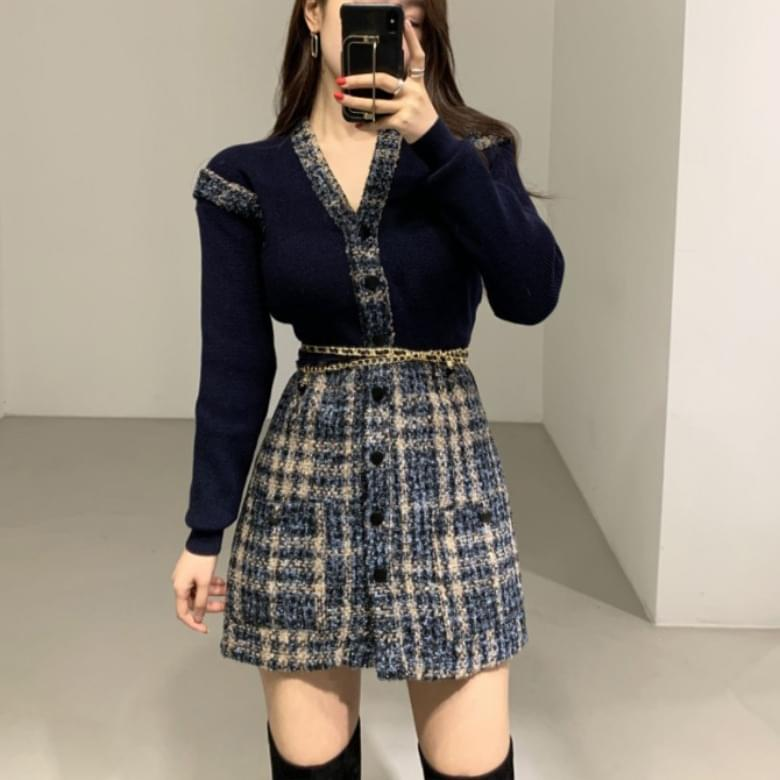 Flam Tweed Dress Belt Set