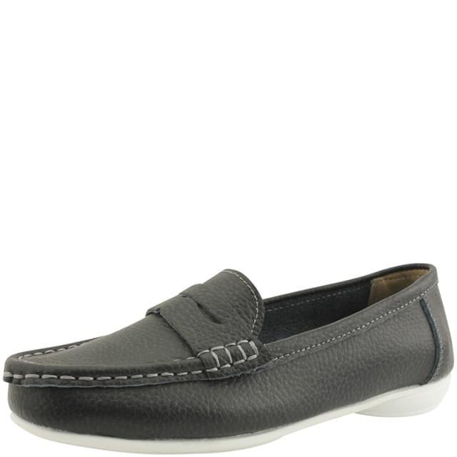 Cowhide Simple Penny Loafers Black