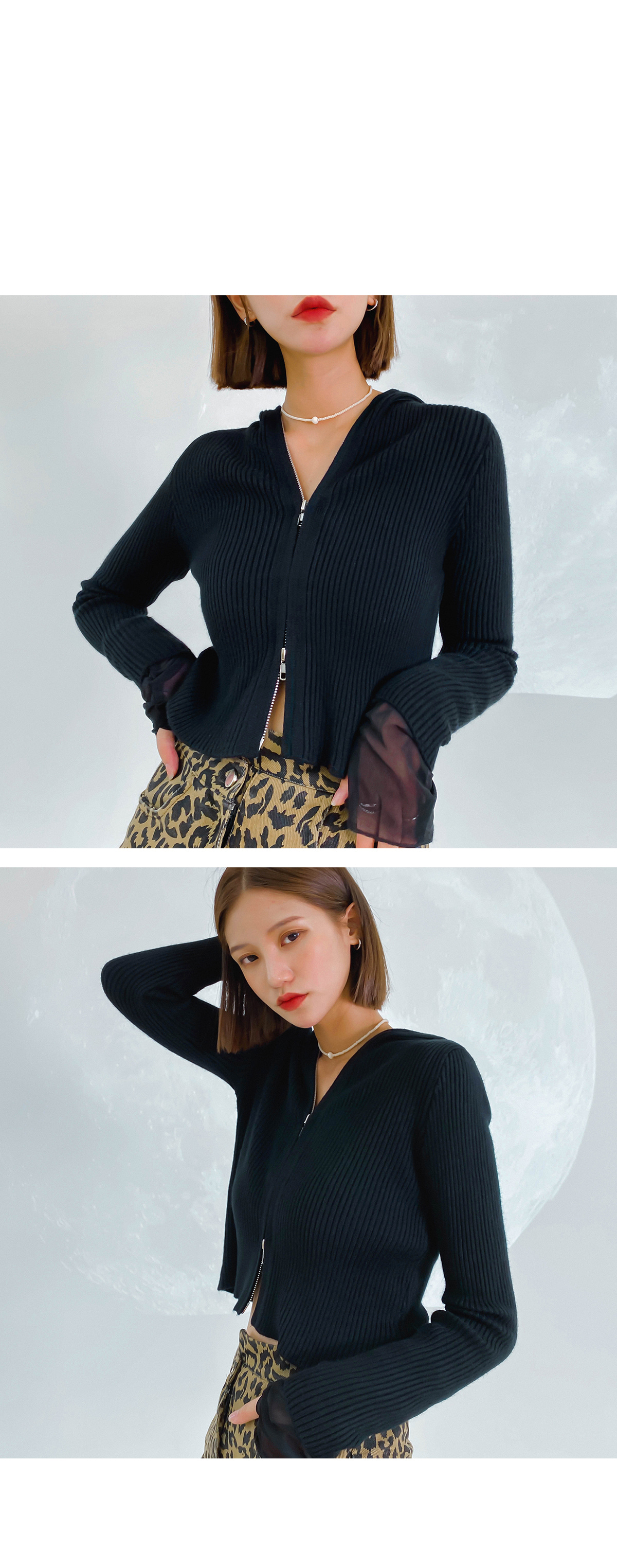 Hooded cropped autumn knit cardigan
