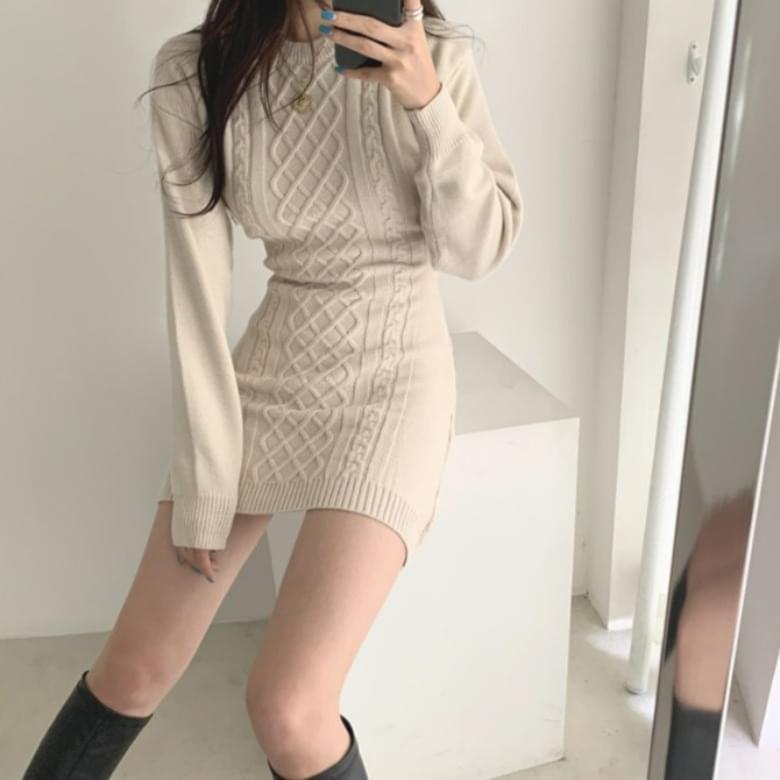 Slim Base Back Split Knitwear Dress