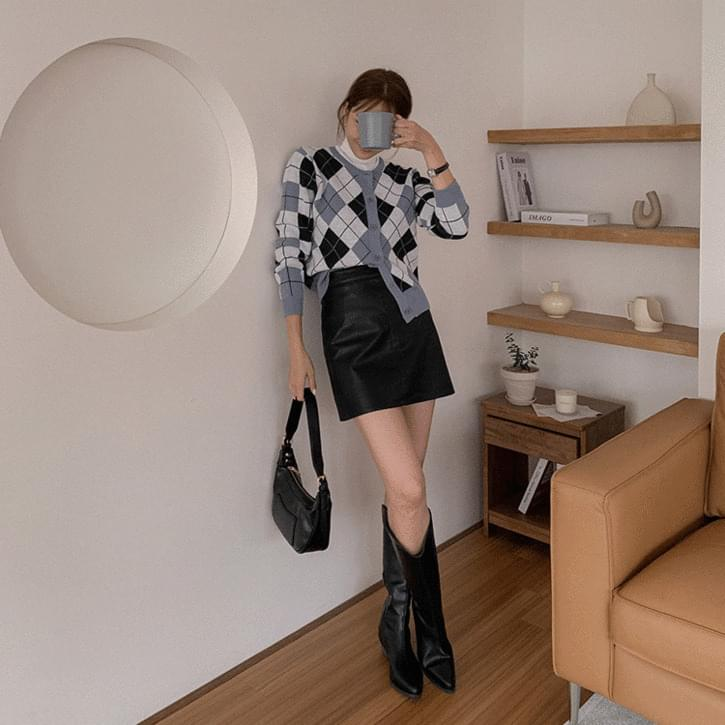 front Split leather mini skirt 裙子