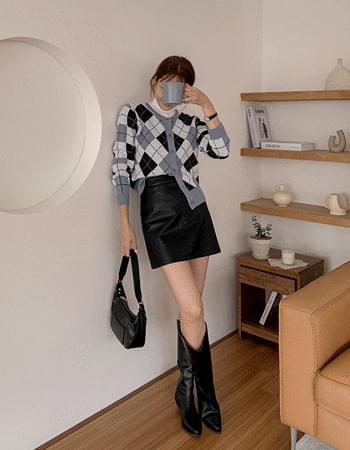 front Split leather mini skirt