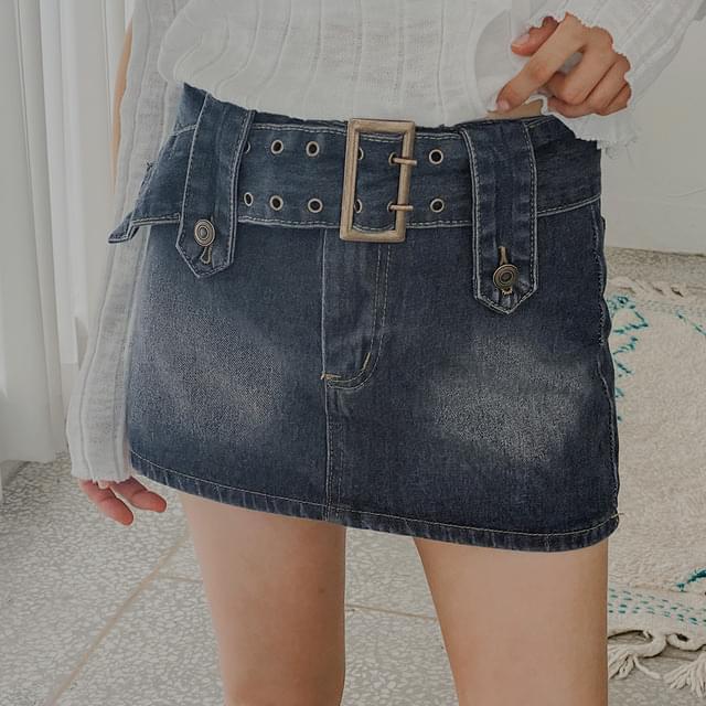 Melon Belt Denim Mini Skirt Pants