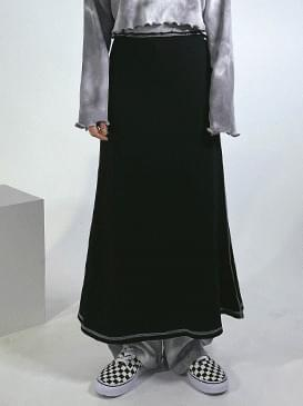 color matching long skirt