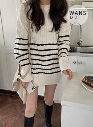 kn5879 Park Stripe Twisted Loose-fit Fit Knitwear