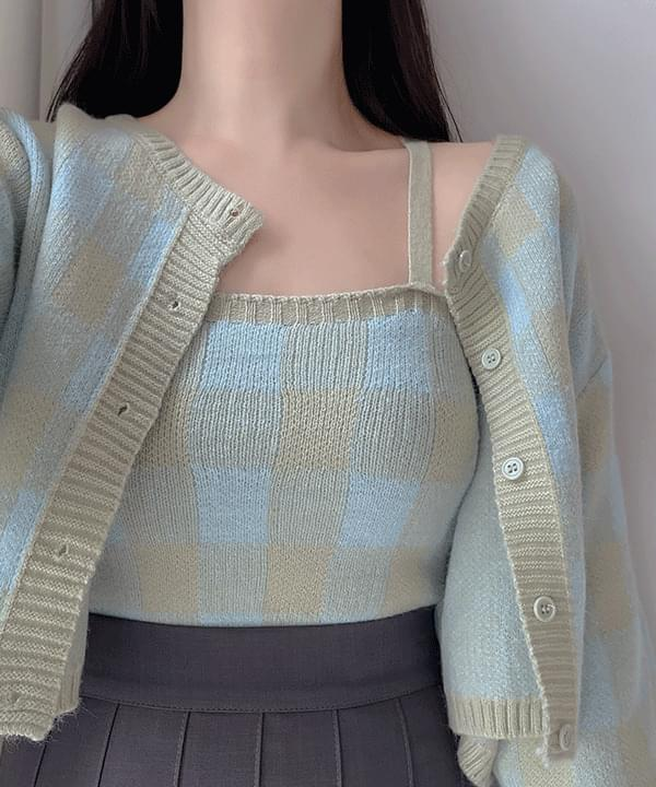 Glam Check Sleeveless + Knitwear Cardigan 2color