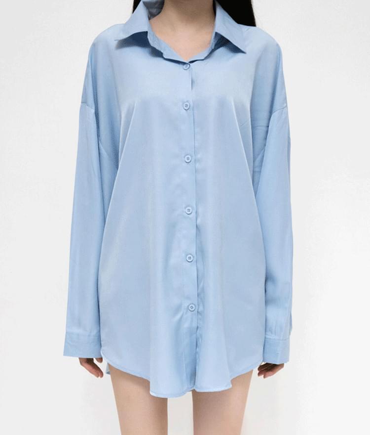 Basic Loose Button-Up Shirt
