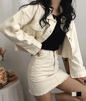Cream Black Cotton Crop Jacket Two Piece Set