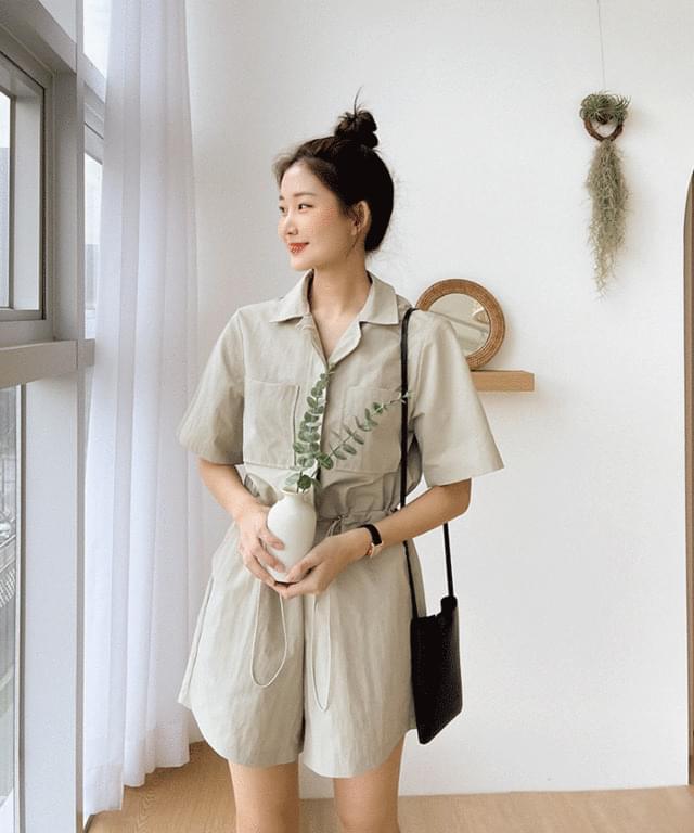 Big Size 55-88 Terr String Short Sleeve 4 Piece Jumpsuit