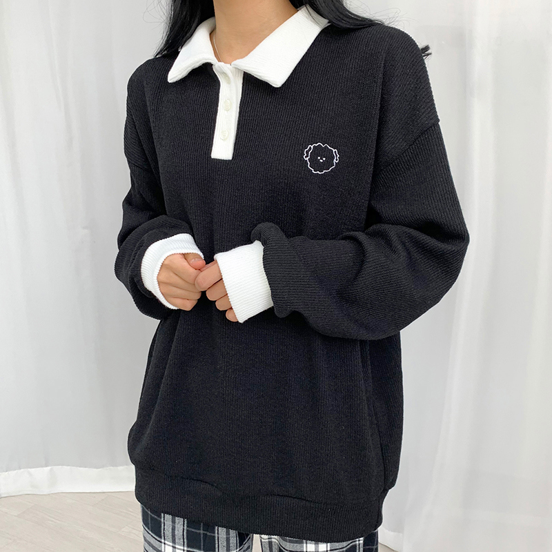 긴팔 티셔츠 모델 착용 이미지-S1L44