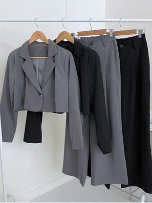Dark One Button Collar Crop Jacket