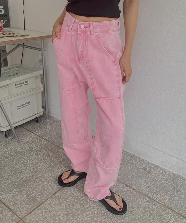 피버 절개 핑크 와이드 데님팬츠