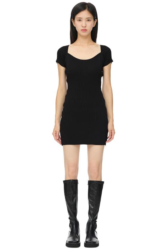 Ribbed Knitwear Slim Short Dress