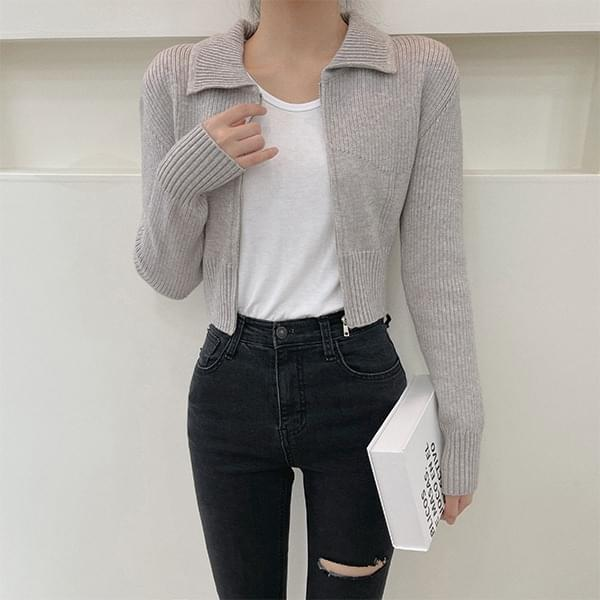 Millais Collar Crop Knitwear Zip-Up