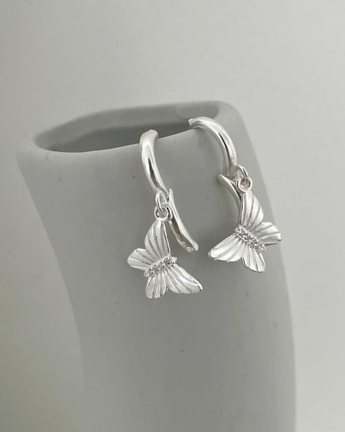 Edel Butterfly Silver One Touch Ring Earrings