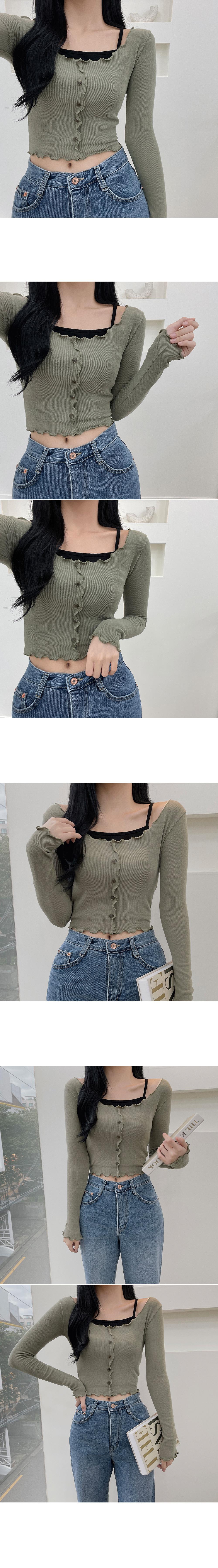 Genu, Button Nallari Off-the-Shoulder T-shirt