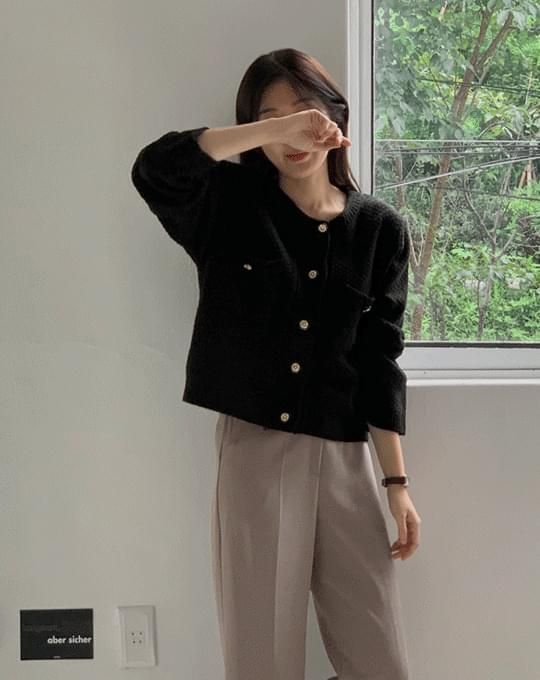 Labelle No Collar Knitwear Short Jacket - 2 color