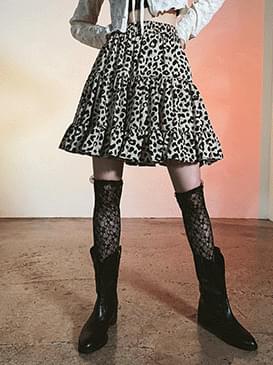 leopard pre mini skirt