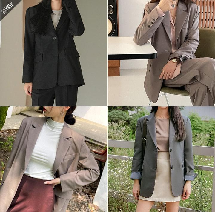 Relaxed Fit Two-Button Jacket