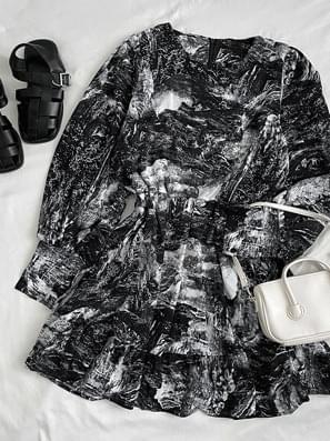 Marble Banding Chiffon Mini Dress