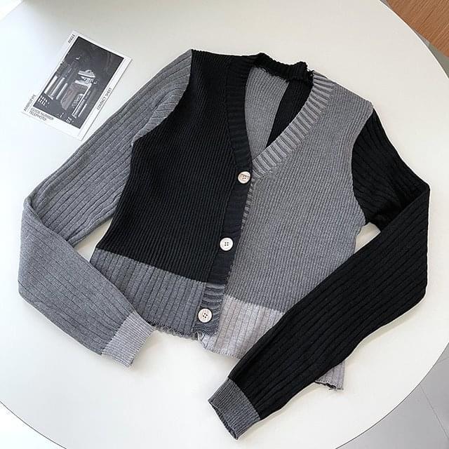 FW Half Color Knitwear Cardigan