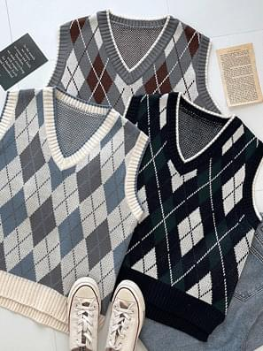 Gent Diamond Check Knitwear Vest