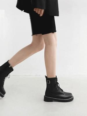 Double Stitch Buckle Lace-Up Ankle Worker Boots 11066 ♡Second Sold Out♡
