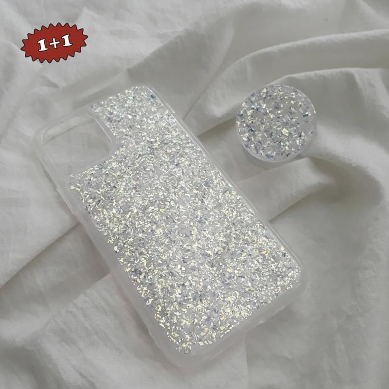 Twinkle Glitter Glitter Transparent Grip Talk Set iPhone Case