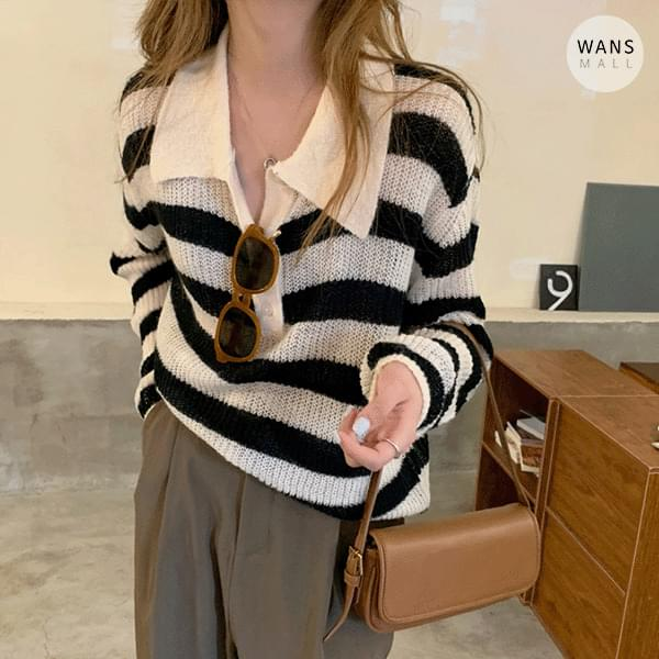 kn5785 Ferrial Stripe Collar Knitwear (Delayed delivery)