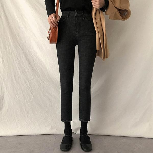 Tight black, inside banding slim straight pants