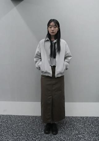cotton slit long skirt
