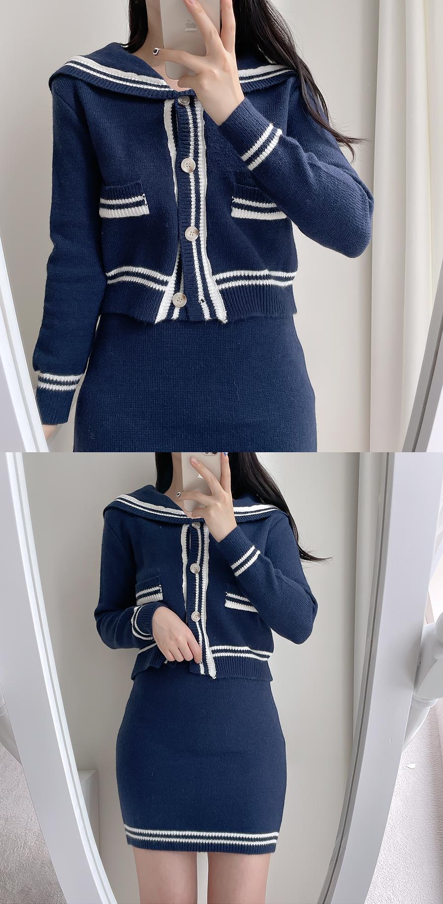 [set]ジョイセーラーニット+ミニスカート2color