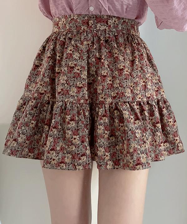 Deep Flower Cancan Skirt Pants 2color
