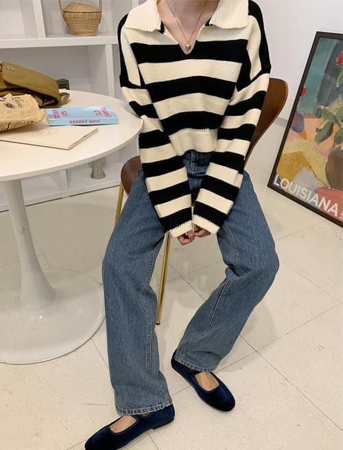 Bold Stripe Crop Collar Knitwear