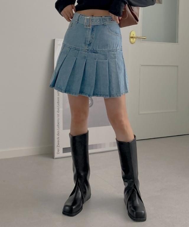 Poulsen Belted Denim Pleated Mini Skirt