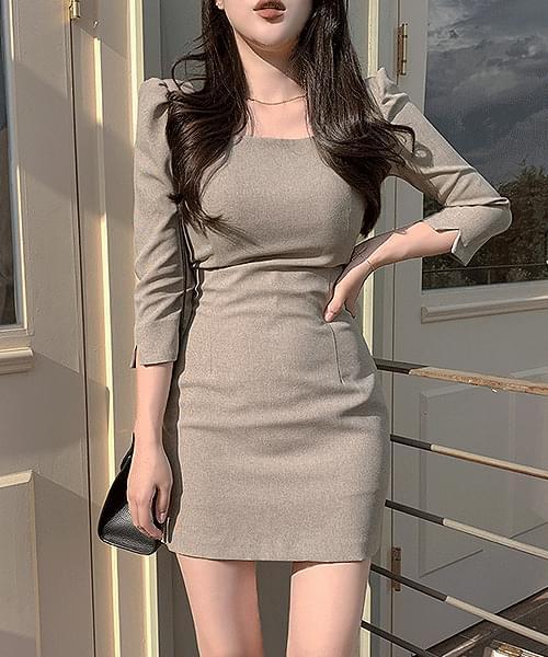 Antique Gobang Check Square Short Sleeve Mini Dress