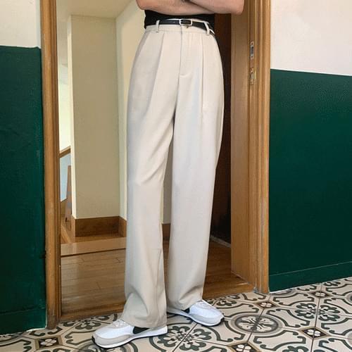 High Waist Button Simple Cotton Pintuck Wide Long Slacks Pants P#YW658