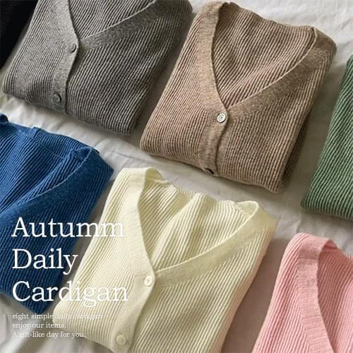 Soft V-Neck Daily basic Ribbed yeori cardigan T # YW817