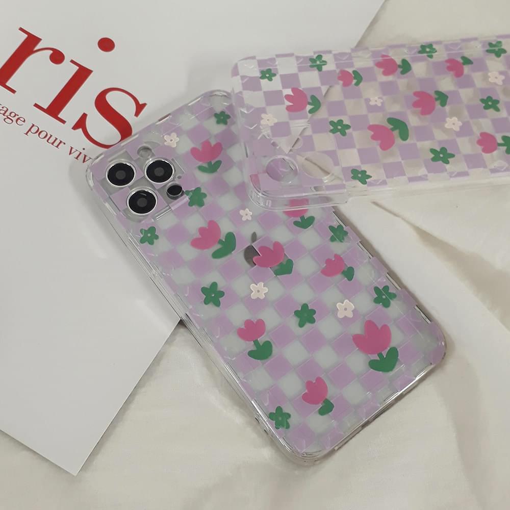 Rosa Tulip Flower Purple Checkerboard Pattern iPhone Case